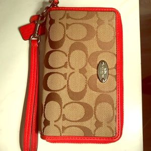 Coach double zip phone wallet
